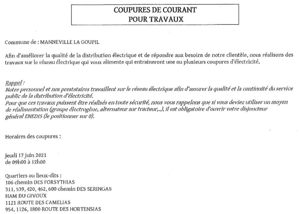 Coupure courant